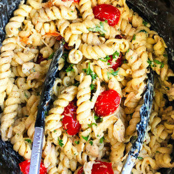 Slow Cooker Chicken Pesto Pasta with Tongs