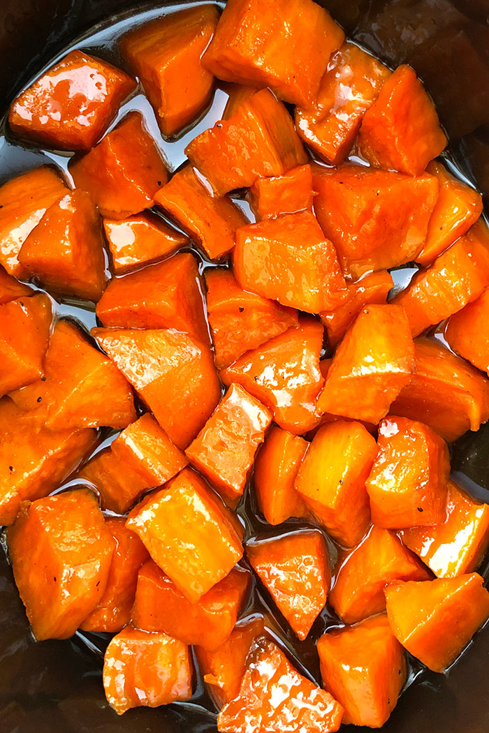 Closeup of Easy Slow Cooker Candied Sweet Potatoes