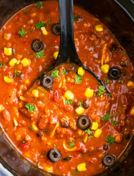 Best Slow Cooker Chili with Big Black Spoon