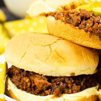 Stack of Homemade Sloppy Joes Burgers on White Plate