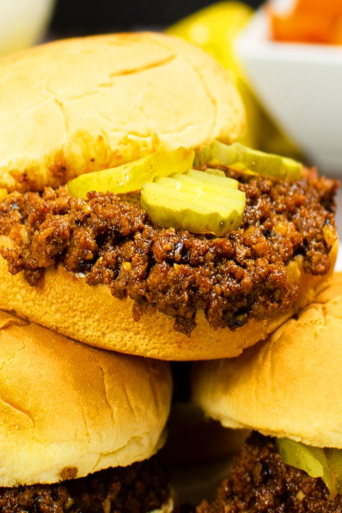 Homemade Sloppy Joes in Hamburger Bun With Pickle Topping
