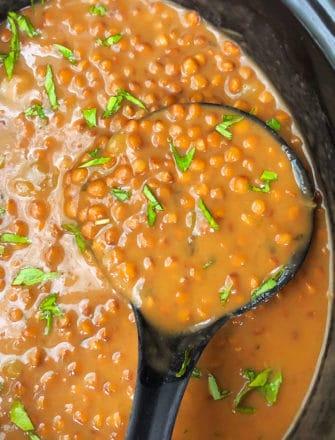 Brown Lentil Soup in Black Slow Cooker