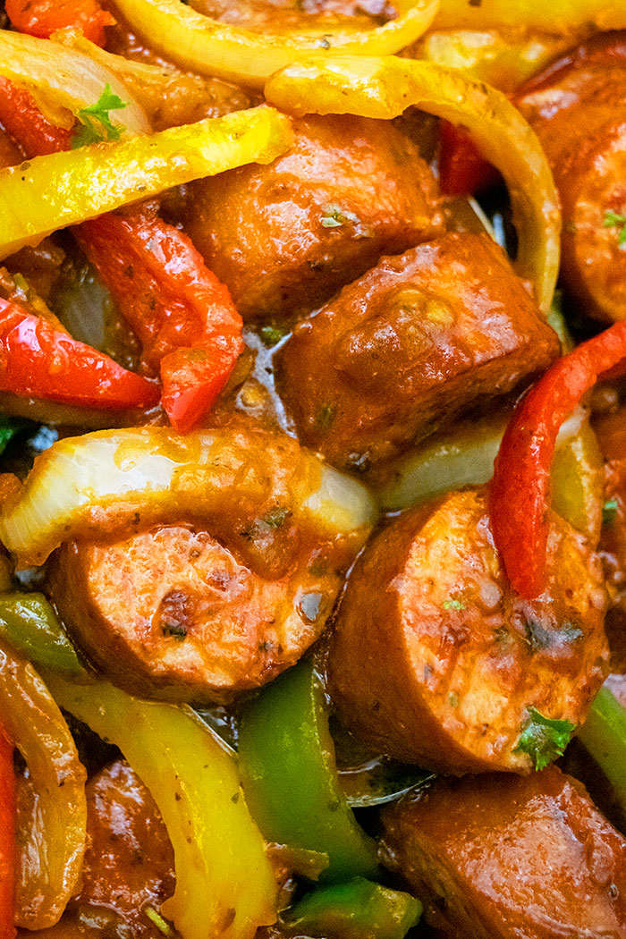 Closeup Shot of Sausage Peppers and Onions