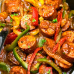 Easy Italian Sausage and Peppers in Black Crockpot