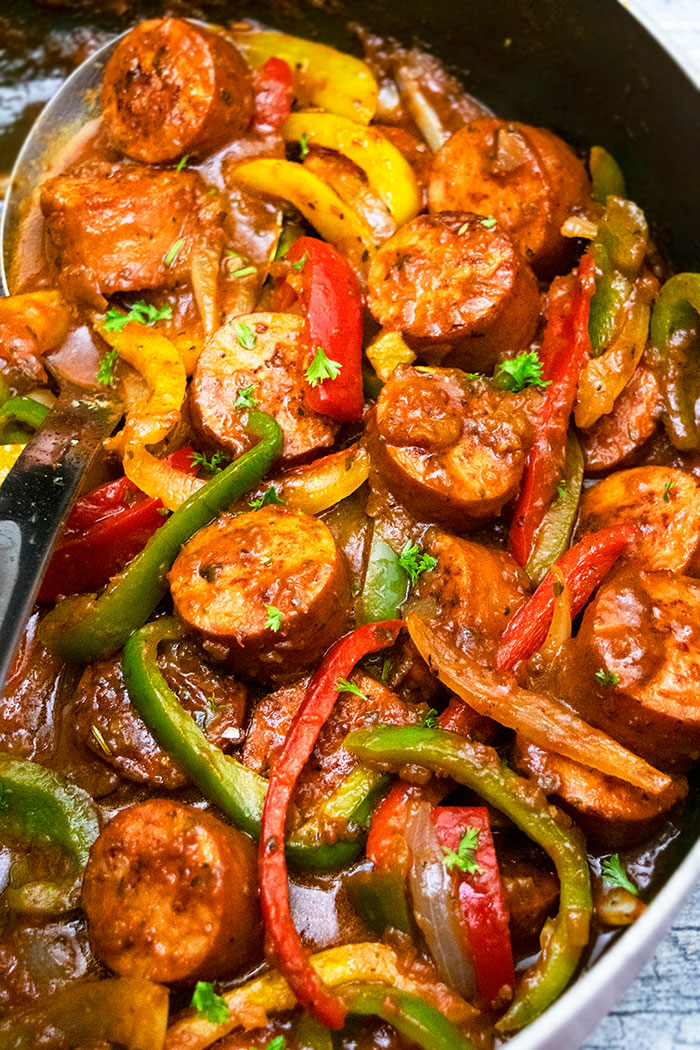 Italian Sausage and Peppers in Black Slow Cooker