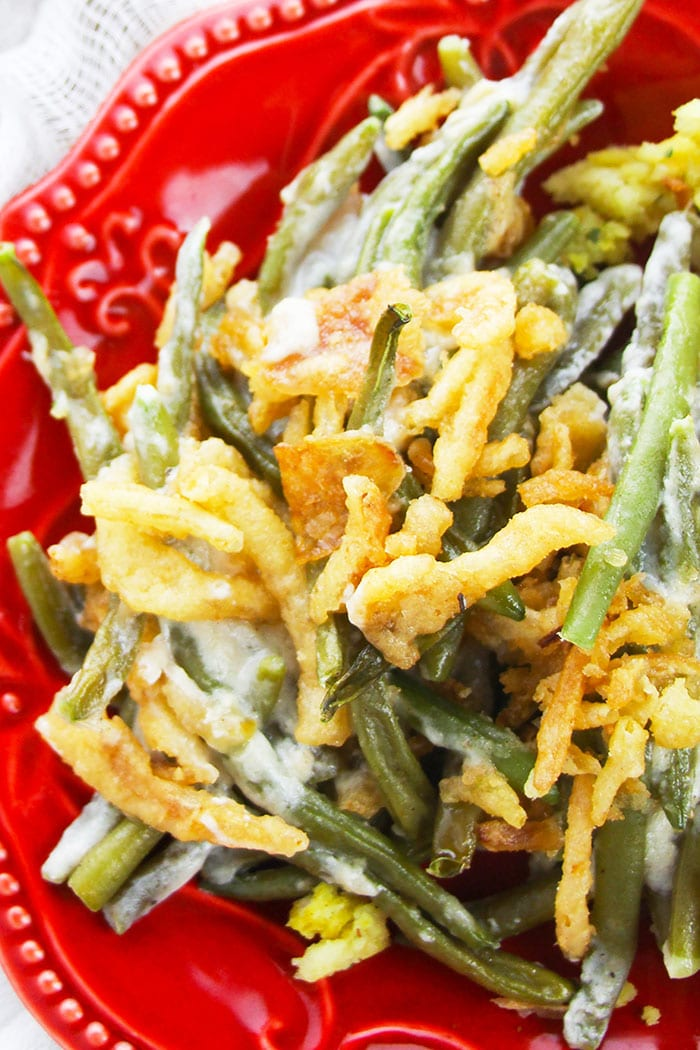 Overhead Shot of Slow Cooker Green Bean Casserole in Red Plate