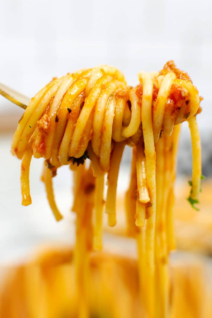 Closeup Shot of Fork With Pasta and Meat Sauce