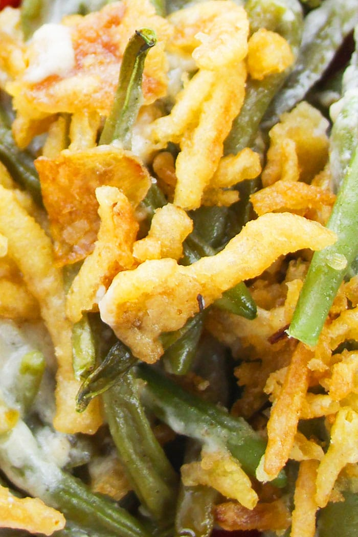 Closeup Shot of Easy Homemade String Bean Casserole with Crispy Fried Onions