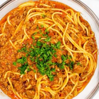 Homemade Spaghetti Sauce in Glass Bowl
