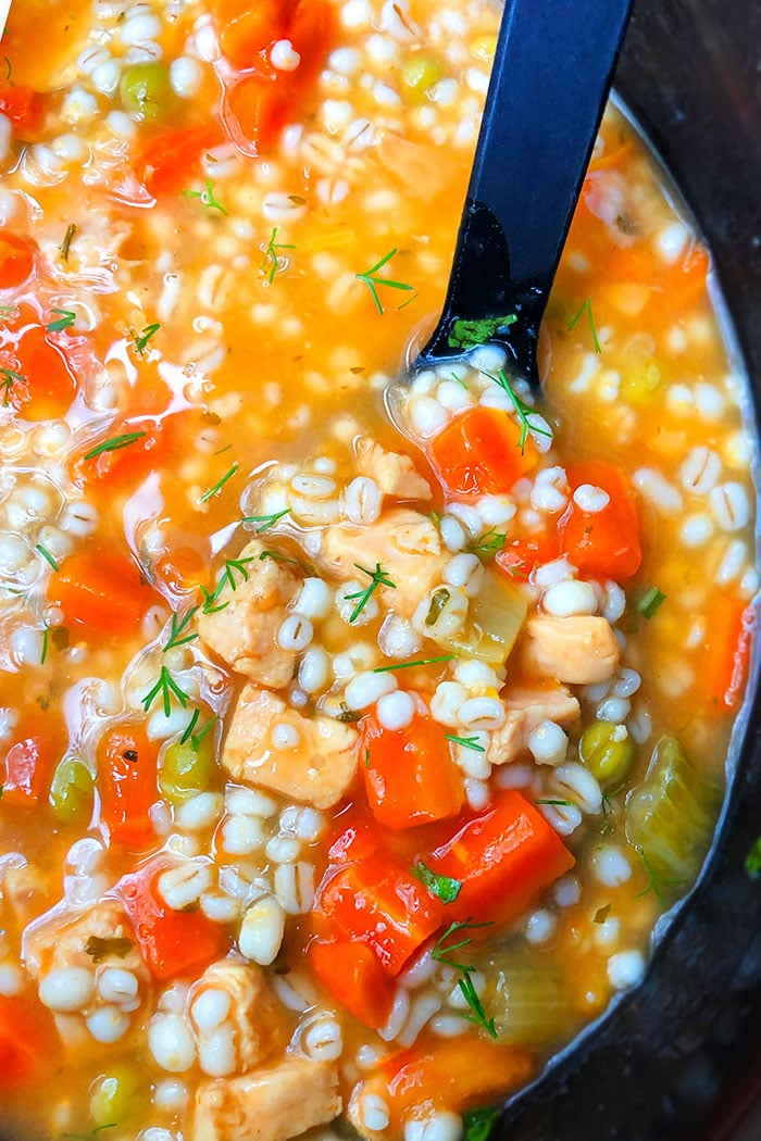 Spoonful of Chicken and Barley Soup- Closeup Shot