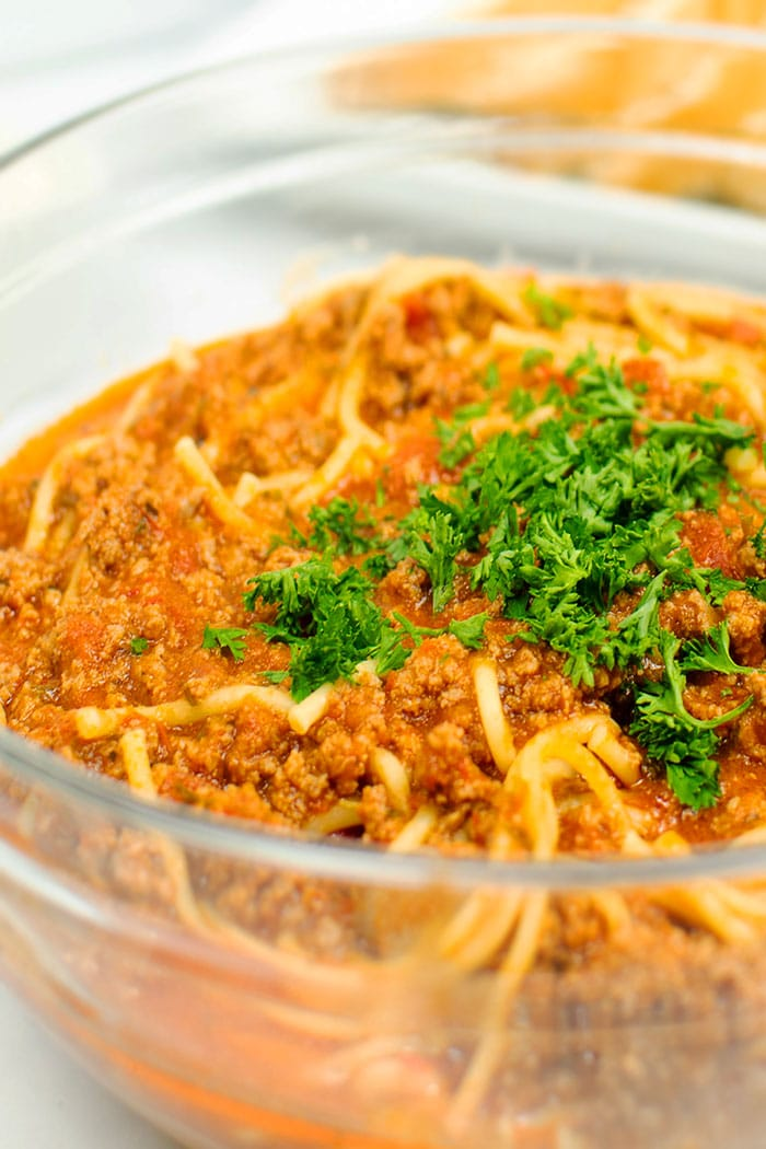 Closeup Shot of Beef Pasta Sauce In Glass Bowl
