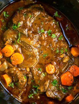 Best Slow Cooker Pot Roast- Overhead Shot