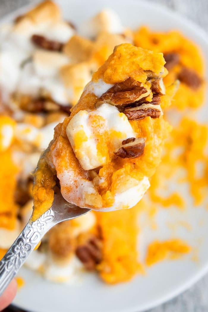 Closeup Shot of Spoonful of Homemade Sweet Potato Casserole
