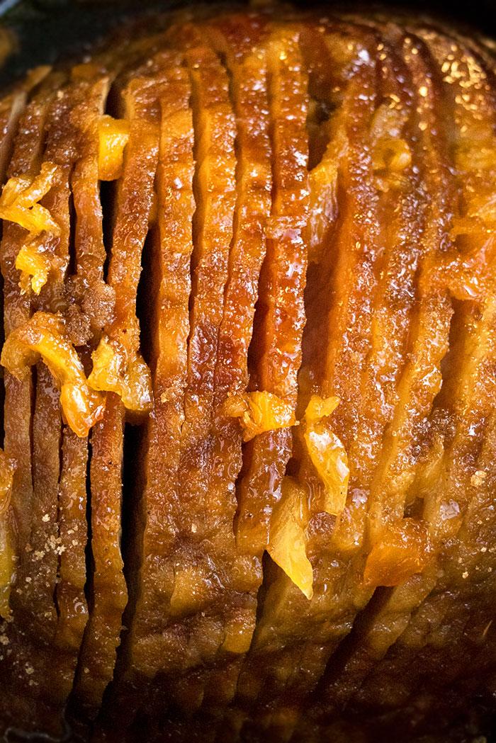 Closeup Shot of Spiral Ham with Pineapple Chunks