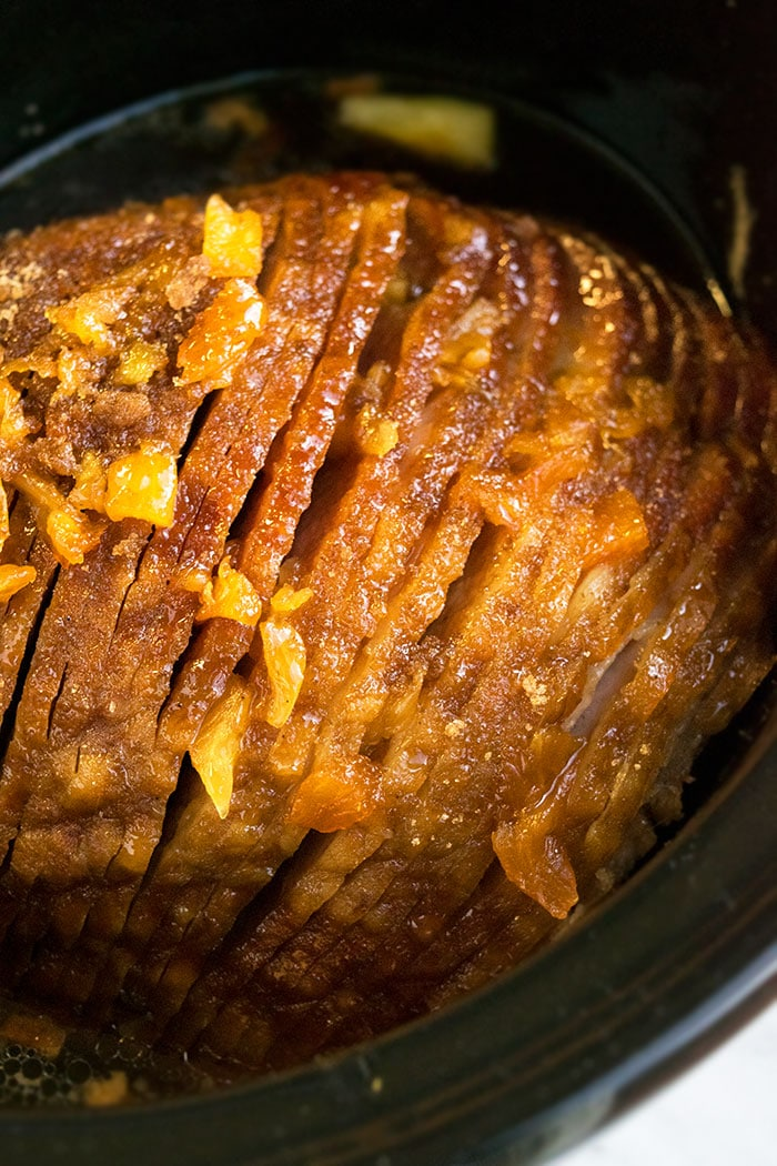 Easy Ham in Black Slow Cooker