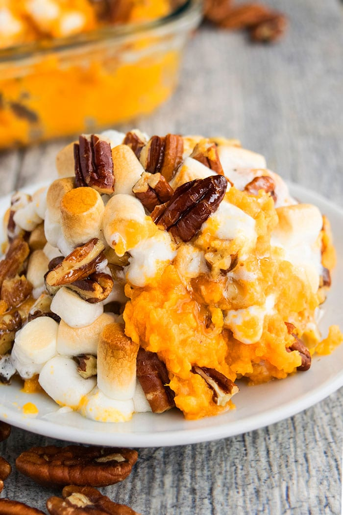 White Plate Full of Best Mashed Sweet Potato Casserole with Pecans and Marshmallows