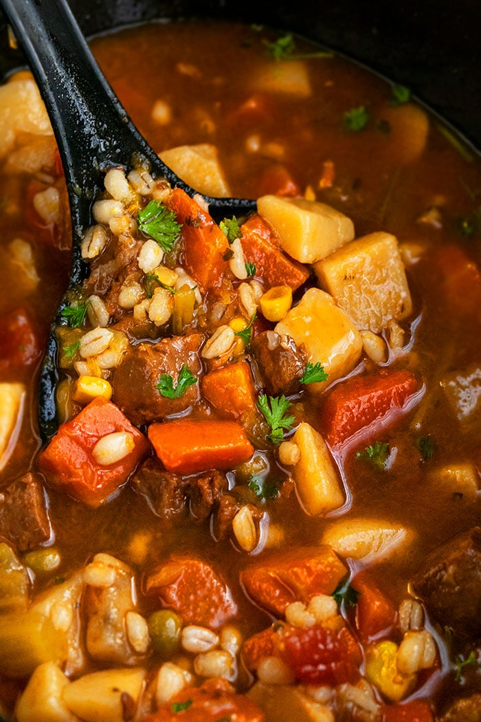 Spoonful of Vegetable Beef and Barley Soup- Closeup Shot