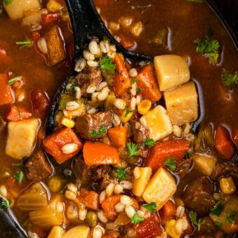 Easy Homemade Beef Barley Soup in Black Slow Cooker