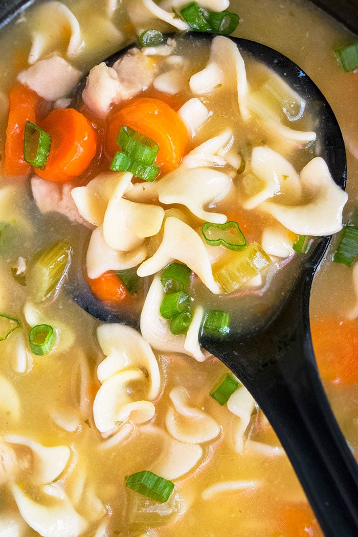 Spoonful of Best Homemade Chicken Noodle Soup From Scratch in Slow Cooker