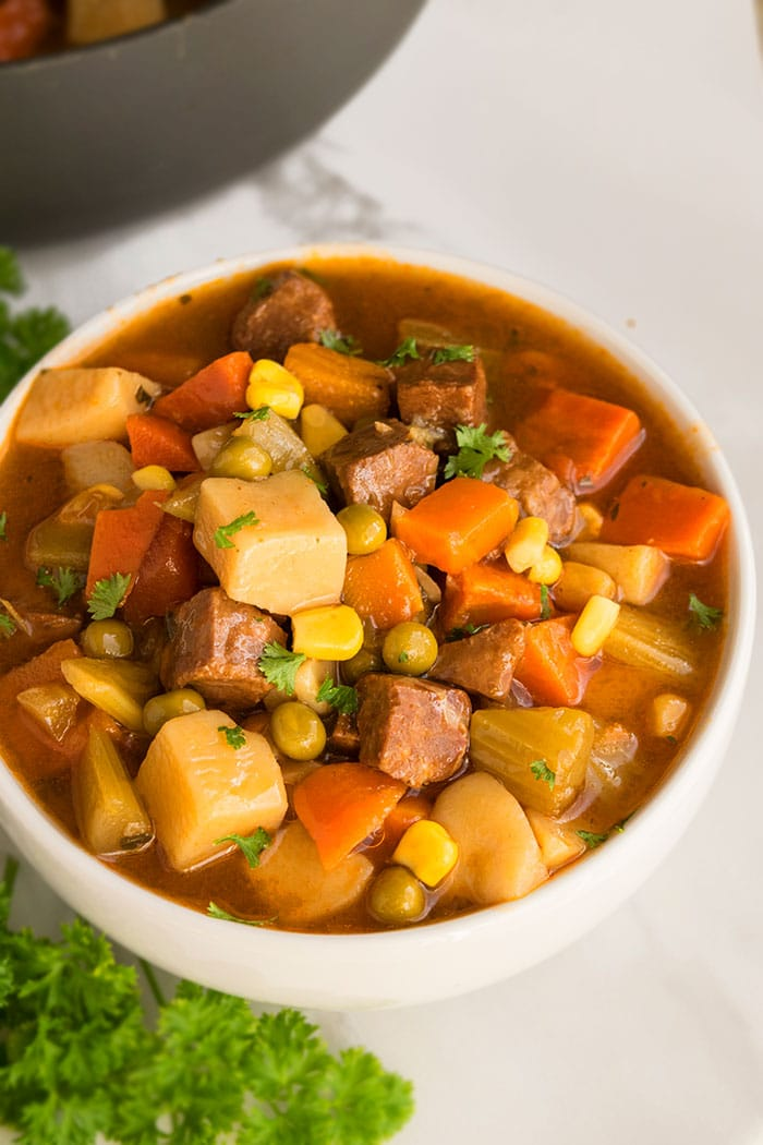 Best Slow Cooker Beef Stew Served in White Bowl on Marble Background