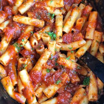 Overhead Shot of Slow Cooker Pasta