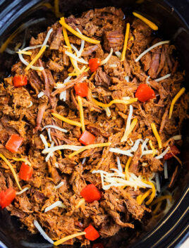 Easy Homemade Barbacoa Beef in Black Slow Cooker- Overhead Shot