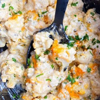 Easy Loaded Cauliflower Casserole in Black Slow Cooker