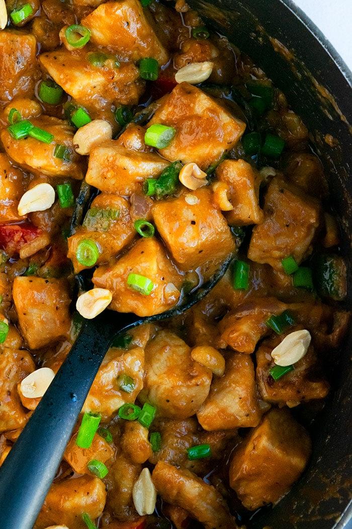 Easy Peanut Butter Chicken in Black Crockpot- Overhead Shot