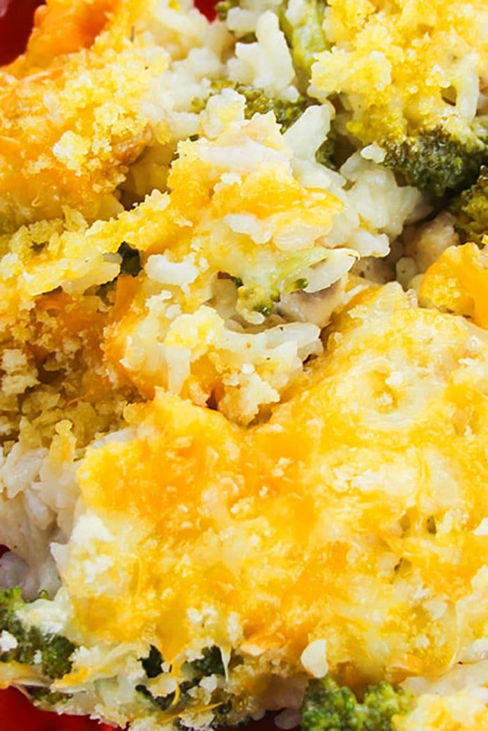 Closeup Shot of Crockpot Chicken Broccoli Cheese