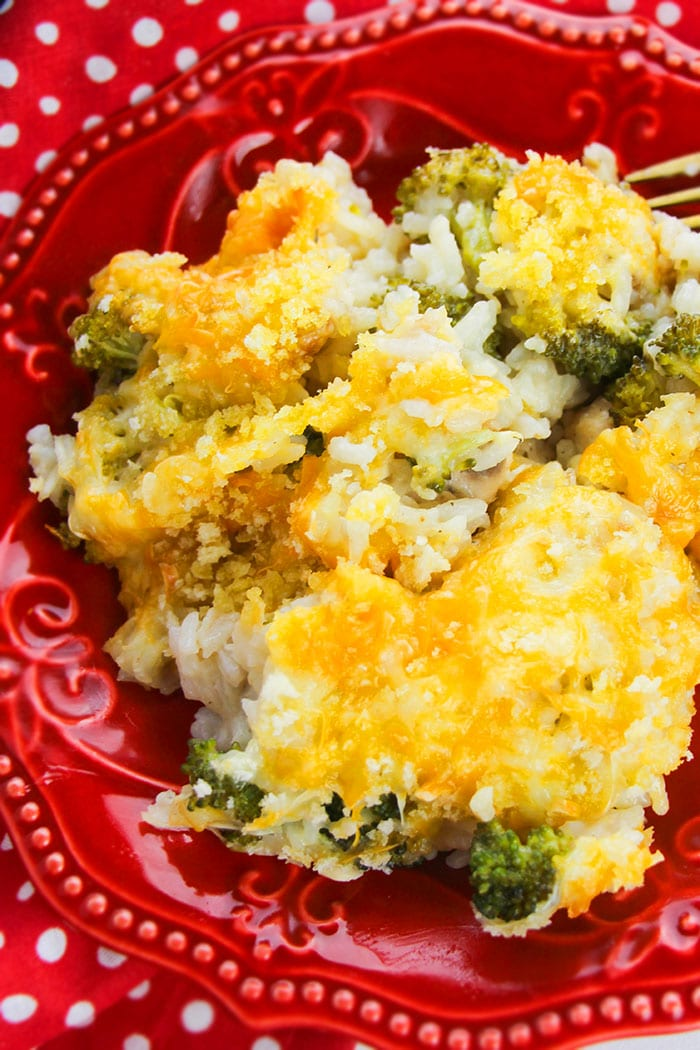 Old Fashioned, Classic, Homemade Cheesy Chicken and Broccoli Casserole in Red Plate - Overhead Shot