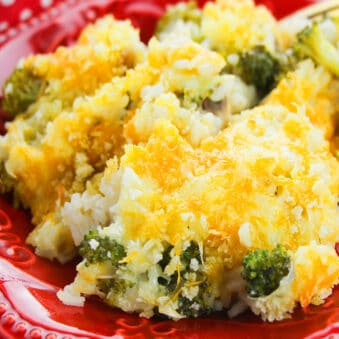 Easy Slow Cooker Chicken Broccoli Casserole Served in Red Plate