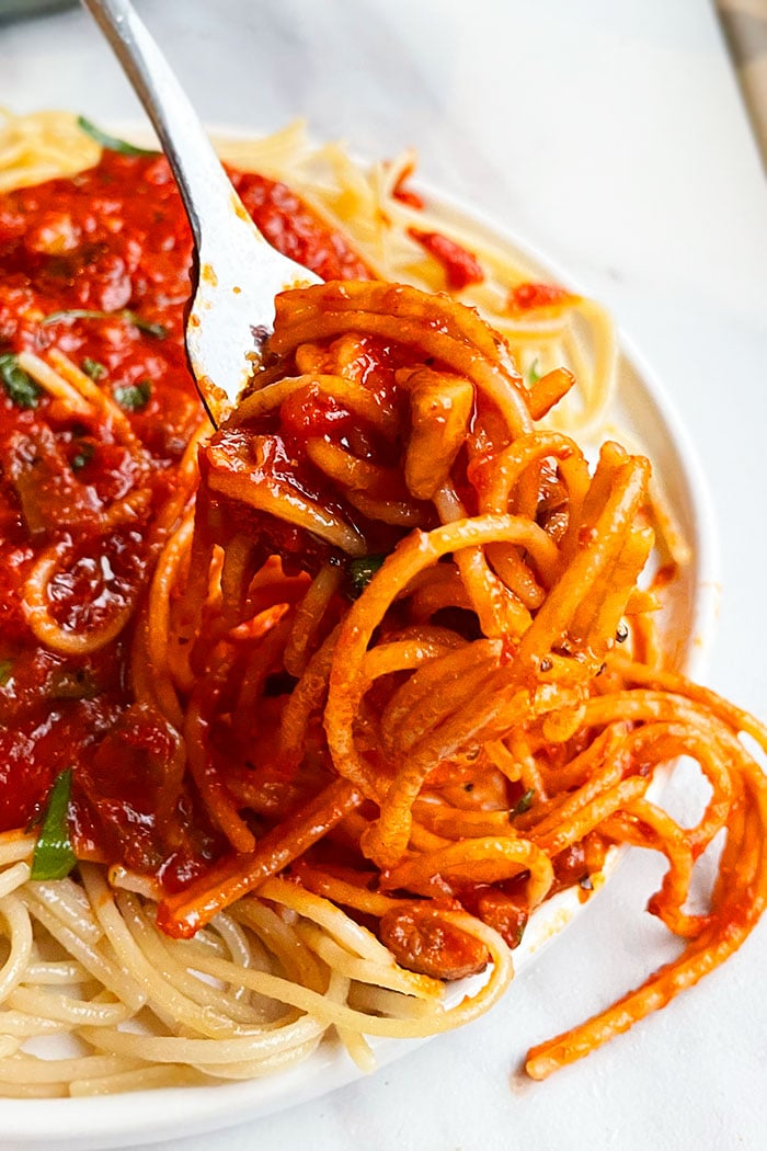 Fork Full of Vegetarian Bolognese- Closeup Shot