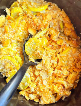 Easy Cheesy Yellow Squash Casserole in Black Slow Cooker- Overhead Shot