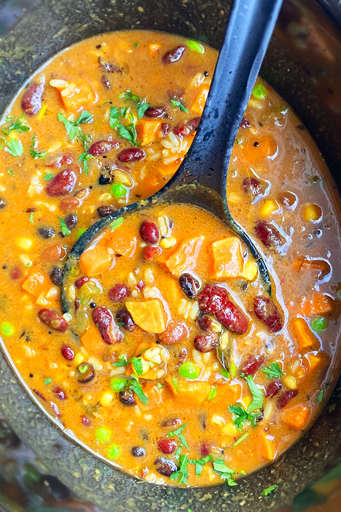 Easy Sweet Potato Chili In Black Slow Cooker- Overhead Shot