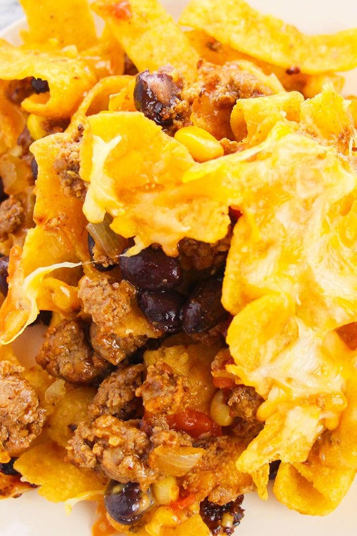 Closeup Shot of Cheesy Frito Chili Pie