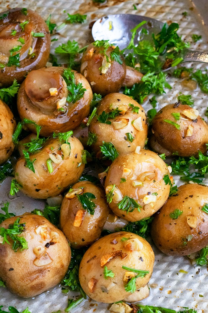 Slow Cooker Garlic Mushrooms Served in Silver Tray