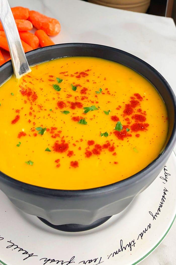 Crockpot Vegetarian Soup in Black Bowl